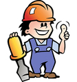 Hand-drawn of an Happy Mechanic Handyman vector image vector image