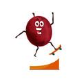 healthy fruit plum cartoon food sport skateboard vector image