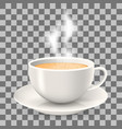 hot cup of coffee with steam on saucer vector image vector image