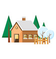 house building and tree with snowy weather vector image