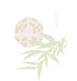 japanese background with sun and bamboo leaf vector image