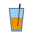 juice glass with straw vector image vector image
