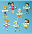 kids holding cards saying days of the week vector image