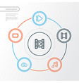 media outline icons set collection of musical vector image vector image