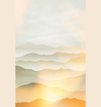 mountains in the fog summer background vector image