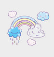 nature rainbow with kawaii fluffy clouds vector image vector image