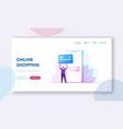 online payment website landing page man buyer vector image vector image