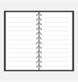 open notebook with spiral and blank lined paper vector image