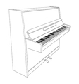 open piano contour with keyboard vector image vector image