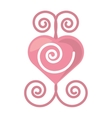 pink heart romantic ornament vector image