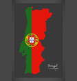 portugal map with portuguese national flag vector image vector image