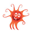 red bacteria cartoon character icon vector image vector image