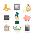 Set of colored money icons vector image vector image