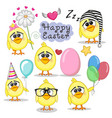 set of cute cartoon chicken vector image