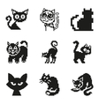 Set of pixel cat in simple minimal black style vector image vector image