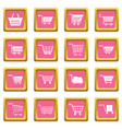 shopping cart icons pink vector image vector image