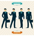Silhouettes of businessmen in retro style vector image