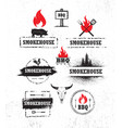 smokehouse barbecue meat on fire menu artisanal vector image vector image