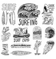 surf badge vintage surfer logo retro wave and vector image vector image
