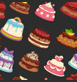 sweets and bakery with creamy toppings seamless vector image