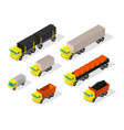 truck set cars trailer delivery industry and vector image