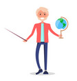 tutor holding globe and pointer isolated on white vector image vector image