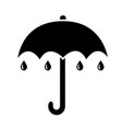 umbrella icon simple black flat with rain drops vector image