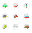 Variety of transport icons set cartoon style vector image vector image