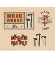 vintage hand drawn woodworks tags logos and vector image vector image