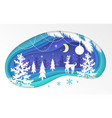 winter forest - modern paper cut vector image