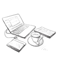 Workplace with laptop notebook and cup of coffee vector image vector image