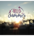Hello Summer lettering typography on blurred vector image