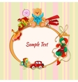 Toys colored drawn framed postcard vector image