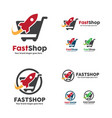 fast shop logo shopping cart with rocket symbol vector image