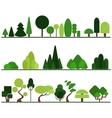 Set of flat trees pine bushes fancy plants vector image