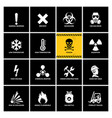 16 warning labels with flat icons vector image vector image