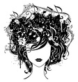 Abstract woman with music in hair vector image vector image
