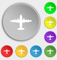 aircraft icon sign Symbol on five flat buttons vector image