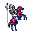 american indian warrior riding standing horse vector image