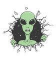 angry alien breaks out through wall vector image vector image