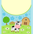background cartoon card with funny cow vector image vector image