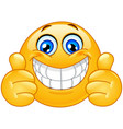 big smile emoticon with thumbs up vector image vector image