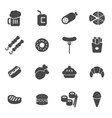 black fastfood icons set vector image