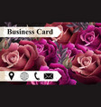 business card with colorful realistic roses vector image vector image