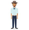 cartoon brazilian man in national clothes vector image vector image