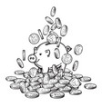 cartoon piggy bank among falling coins on big pile vector image vector image