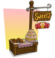 cartoon sweets vendor booth market wooden stand vector image vector image