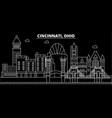 cincinnati silhouette skyline usa - cincinnati vector image vector image