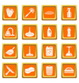 cleaning icons set orange square vector image vector image