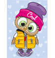 cute owl in a hat and waiscoat vector image vector image
